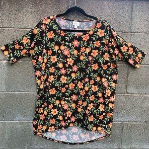 LulaRoe Floral Colorful Blk Orange Top Blouse SZ S